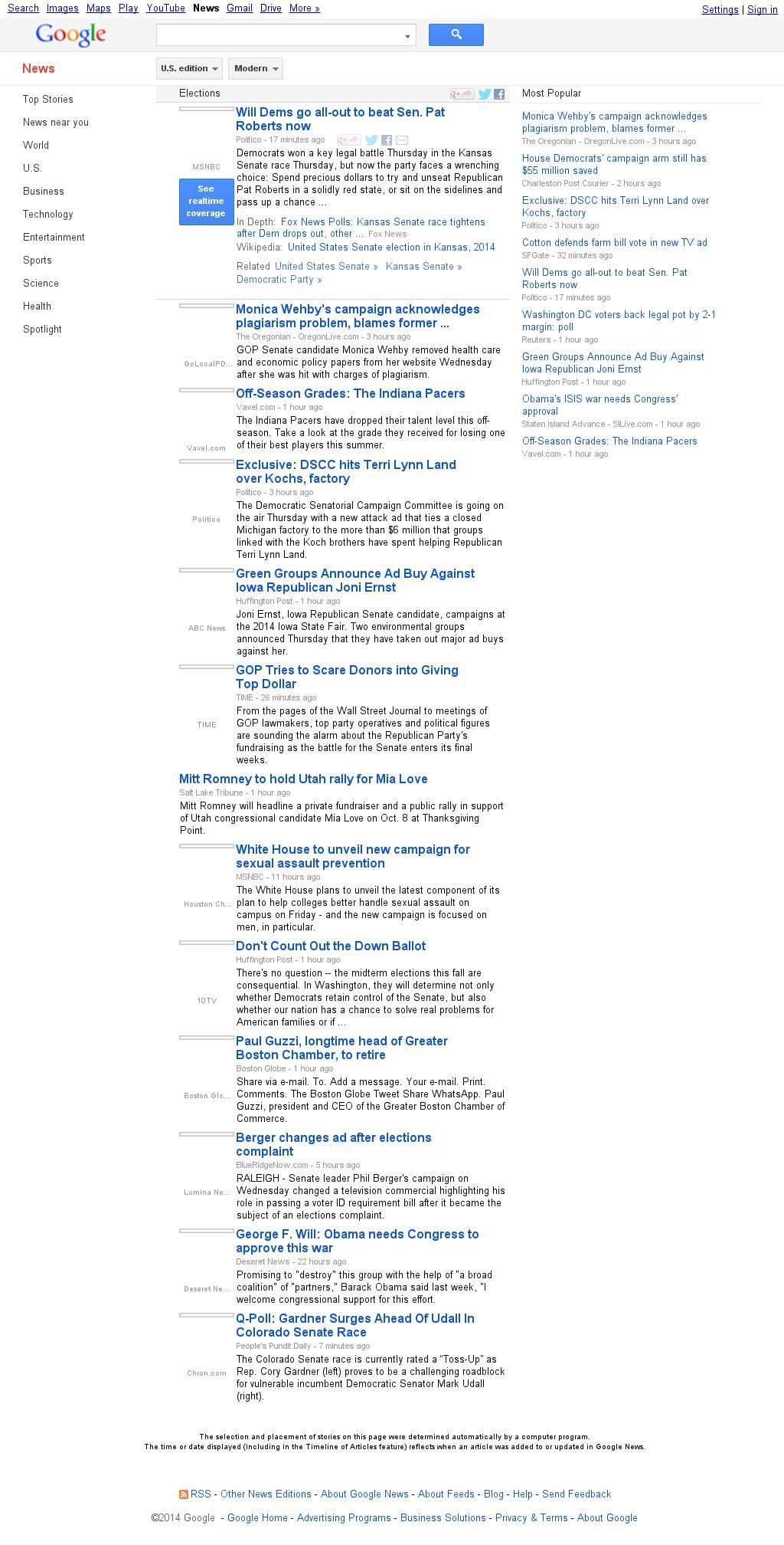 Google News: Elections at Thursday Sept. 18, 2014, 11:07 p.m. UTC