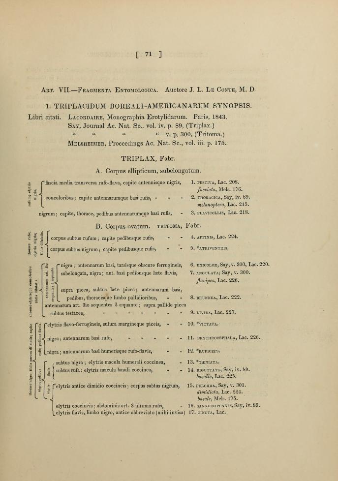 LeConte (1847) J. Acad. Nat. Sci. Phil (2) 1 (1): 71-93