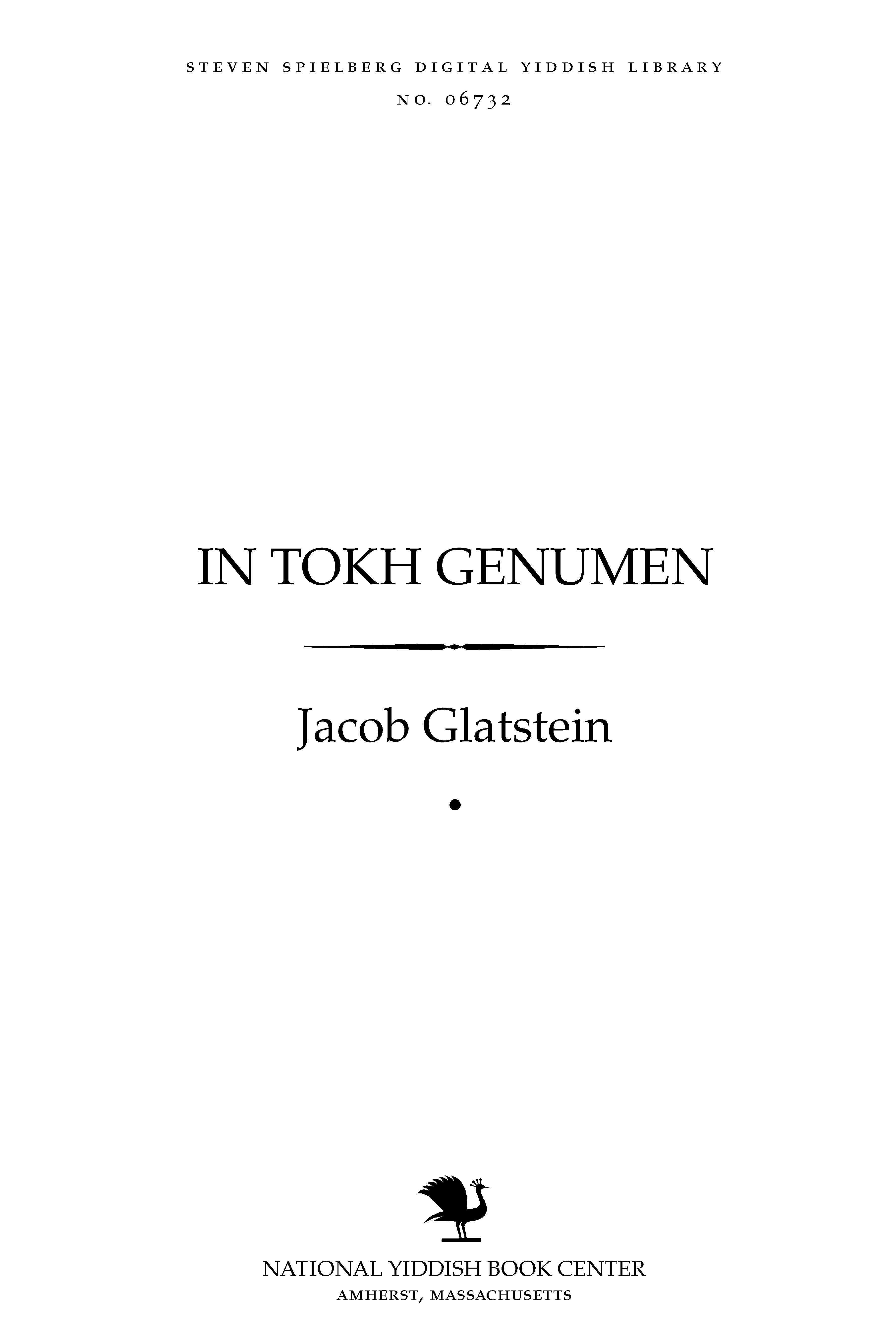 Cover of: In tokh genumen